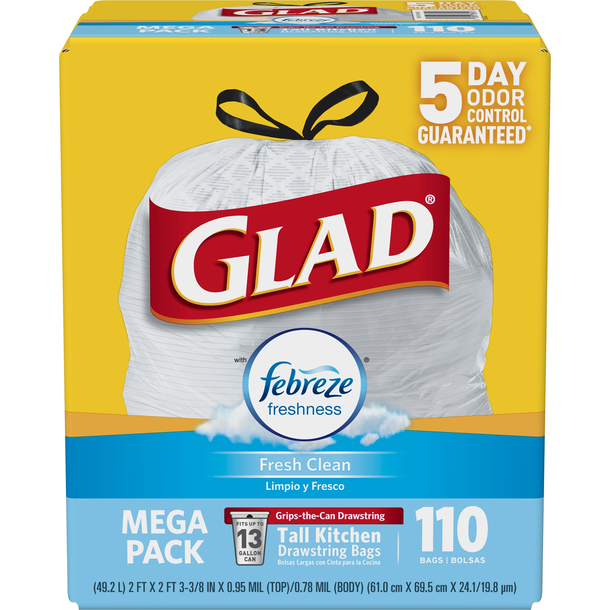 Glad OdorShield Tall Kitchen Drawstring Trash Bags - Febreze Fresh Clean - 13 gal - 110 ct