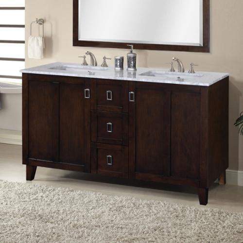 Infurniture Contemporary Style Dark Brown 60-inch Carrara White Marble Top Double Sink Bathroom Vanity