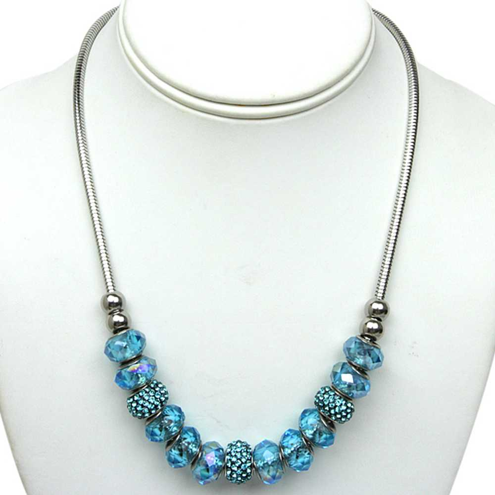 14MM Sky Blue Pave Crystal Ball and Beads Compatible Necklace and Bracelet Set
