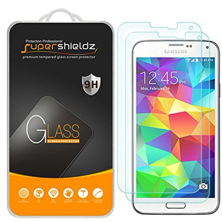 Screen Glass Replacement - [2-Pack] Supershieldz for Samsung Galaxy S5 Tempered Glass Screen Protector, Anti-Scratch, Anti-Fingerprint, Bubble Free, Lifetime Replacement Warranty