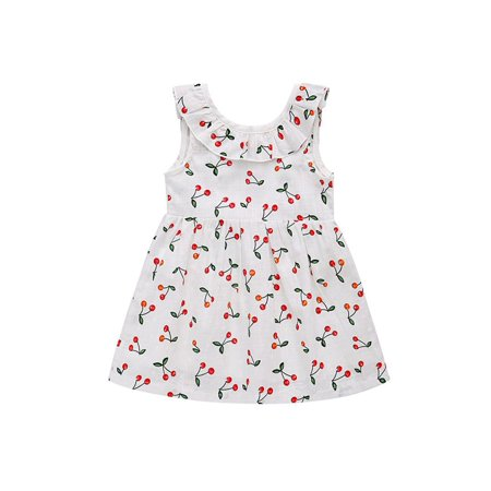 Sweetsmile Princess Dresses for Baby Girls Children's Clothing Cherry Blossom Tied Bow Tie Sleeveless Vest Dress Skirts For 2-5T