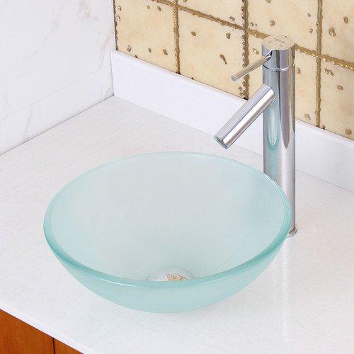 Elite Double Layered Tempered Glass Circular Vessel Bathroom Sink Walmart Com Walmart Com