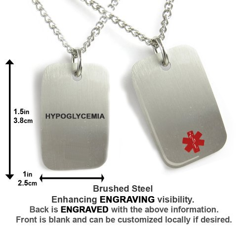 Myiddr hypoglycemia medical alert dog tag necklace stainless steel customer reviews mozeypictures