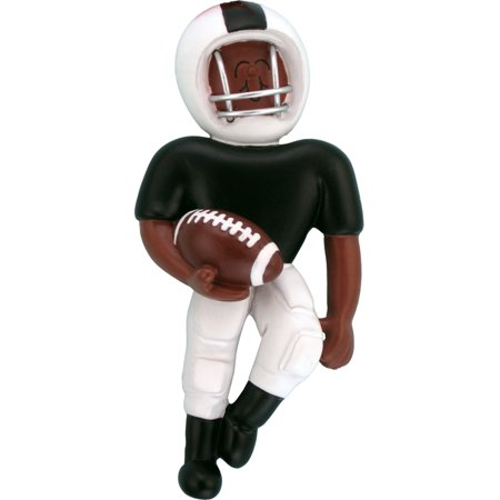 Playing Football Black & White Uniform AA Personalized  Christmas Ornament - Personalized Football Ornaments