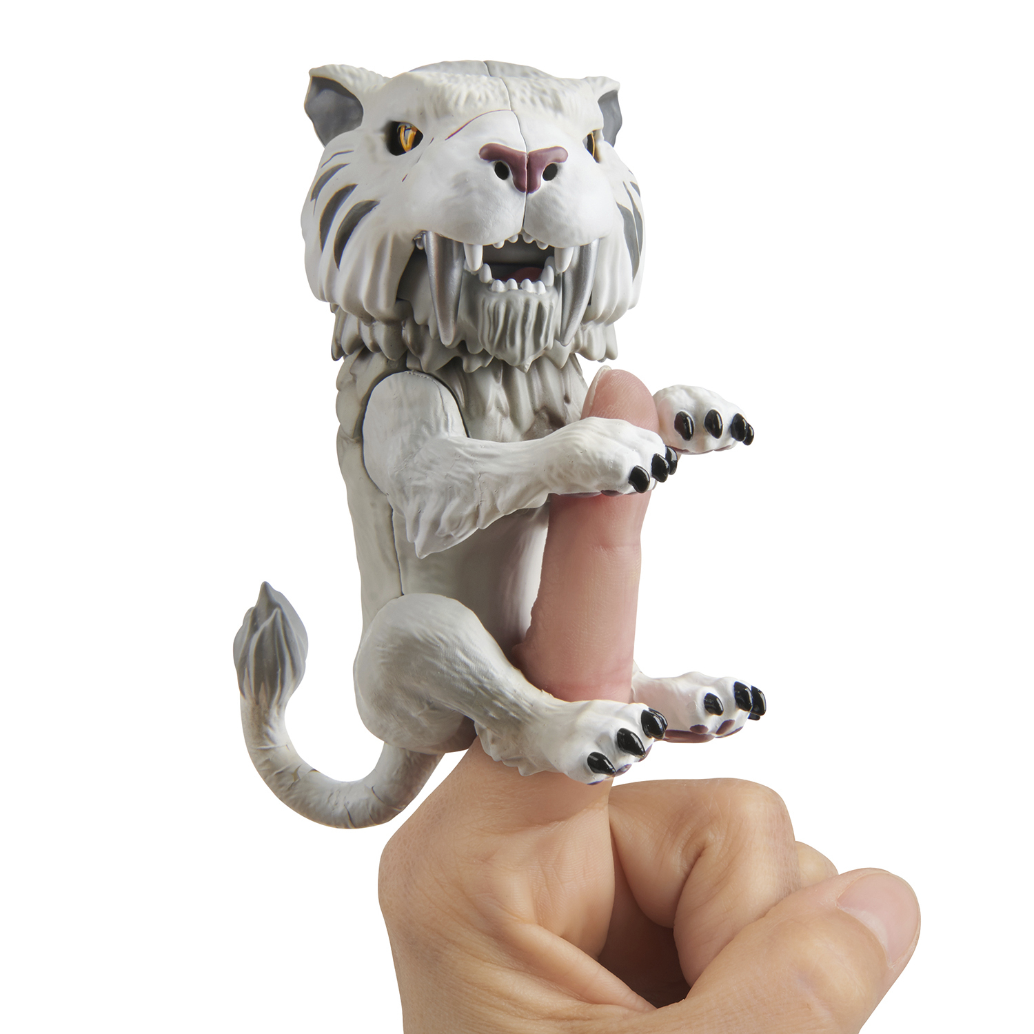 Untamed Sabre Tooth Tiger by Fingerlings – Silvertooth (Silver) – Interactive Collectible Toy – By WowWee