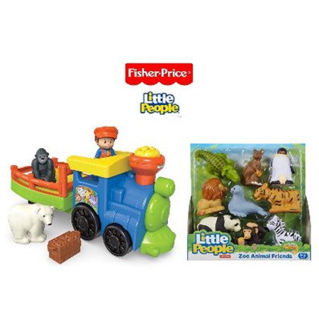 Little People Fisher Price Choo Choo Zoo Train and Zoo Animal Friends Gift Set Bundle
