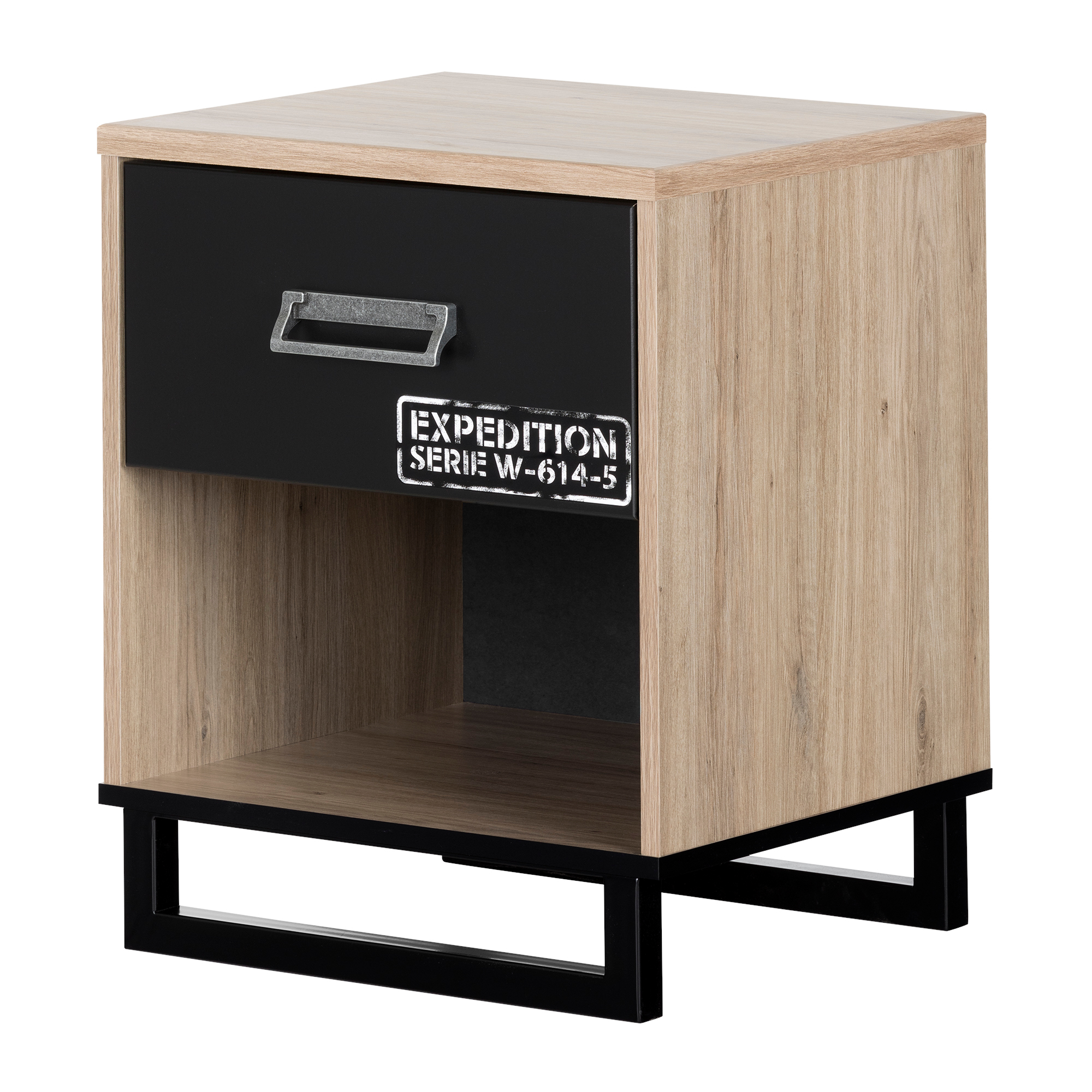 South Shore Induzy 1-Drawer Nightstand, Rustic Oak and Matte Black