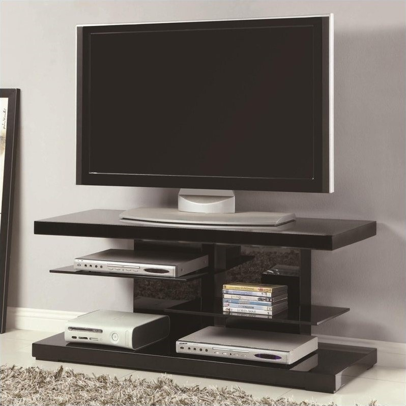 """Kingfisher Lane 47"""" TV Stand in Black with Alternating Glass Shelves"""