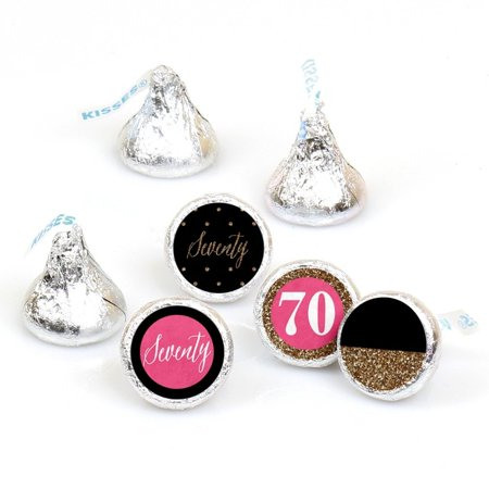 Chic 70th Birthday - Round Candy Sticker Favors - Labels Fit Hershey's Kisses (1 sheet of 108) - Cheap 70th Birthday Invitations