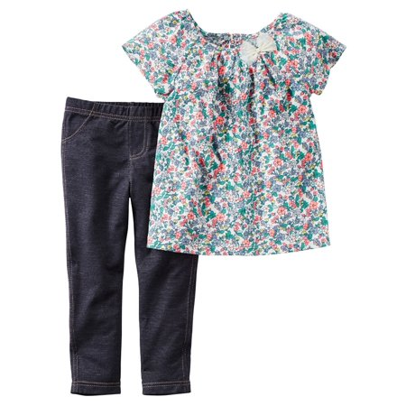 Carters Baby Clothing Outfit Girls 2-Piece Top & Jegging Set Pink Floral