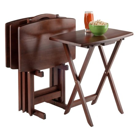 Winsome Walnut 5-Piece Curved Rectangular TV Tray Set - Walmart.com