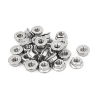 Uxcell M6 Thread Stainless Steel Serrated Hex Flange Nuts Silver Tone (26-pack)