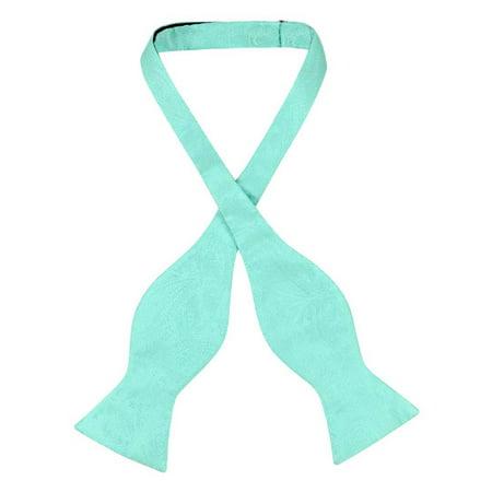 Vesuvio Napoli SELF TIE Bow Tie AQUA GREEN Color PAISLEY Design Men's BowTie (Green Bowtie)