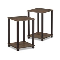 Furinno Turn-N-Tube Haydn End Table, Walnut/Brown, Set of 2