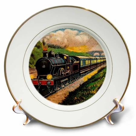 Steam Train Plate (3dRose Magic Lantern Vintage Steam Engine Locomotive Train Carriages - Porcelain Plate, 8-inch )