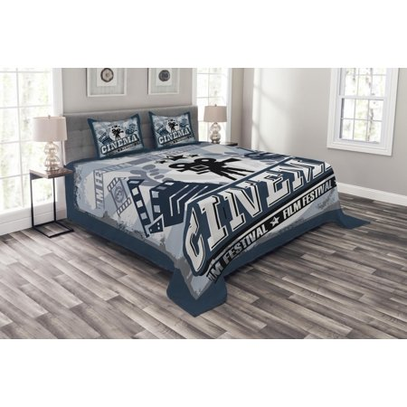 Movie Theater Bedspread Set, Vintage Cinema Poster Design with Grunge Effect and Old Fashioned Icons, Decorative Quilted Coverlet Set with Pillow Shams Included, Blue Black Grey, by
