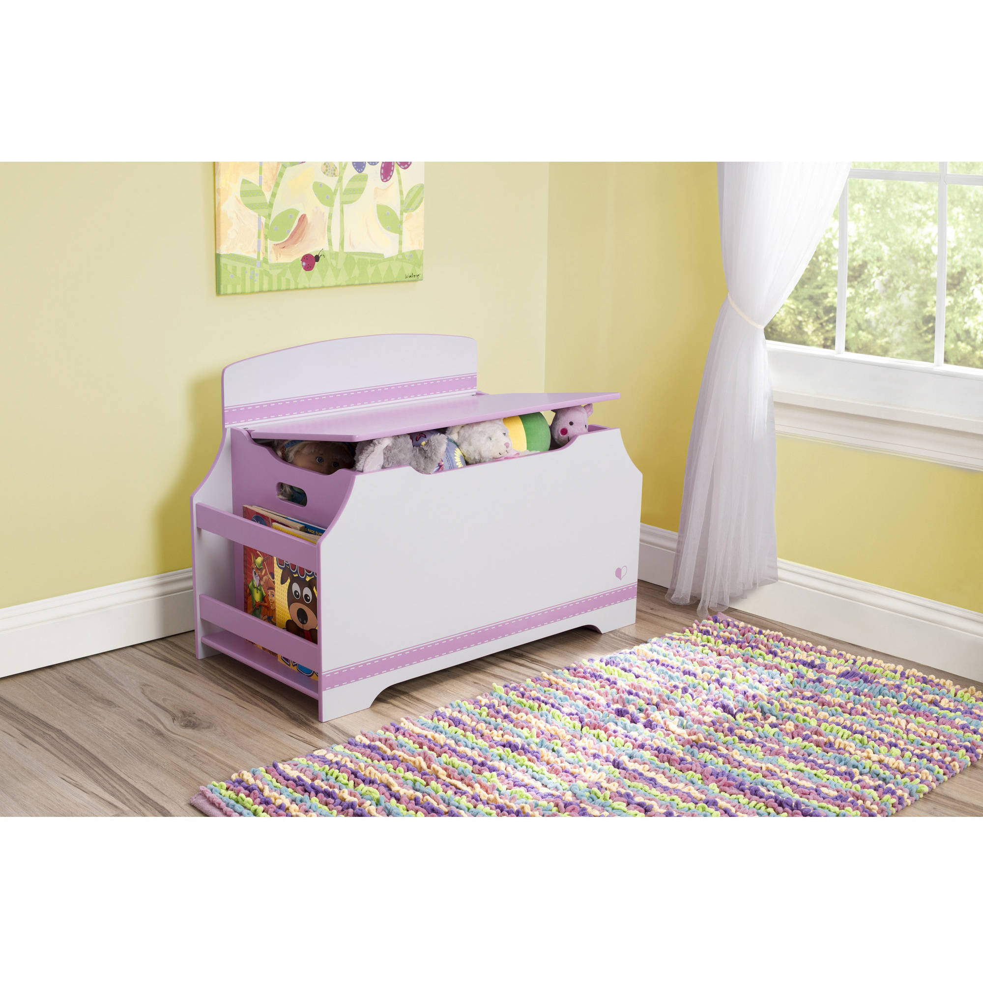 Delta Children Jack and Jill Deluxe Toy Box with Book Rack