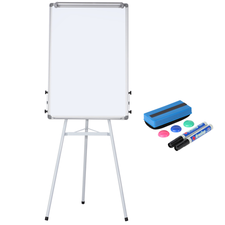 Portable Dry Erase Easel Magnetic White Board Dry Erase Board Tripod Whiteboard Flipchart Easel Height Adjustable for Office/Home/School Use with 1 Eraser,3 Magnets(36x24 inches) - Dry Erase Board Material