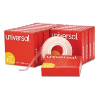 """Universal Invisible Tape, 1/2"""" x 1296"""", 1"""" Core, Clear, 12/Pack"""