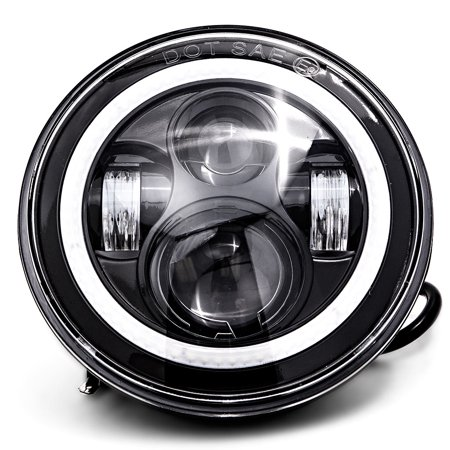 "Krator 7"" Black LED Headlight with Halo Ring Angel Eye for Harley Davidson Road King FLHR 1995-2013 - image 1 of 5"