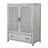 Origins by Alpine Aria Wood Armoire in Weathered Light Gray