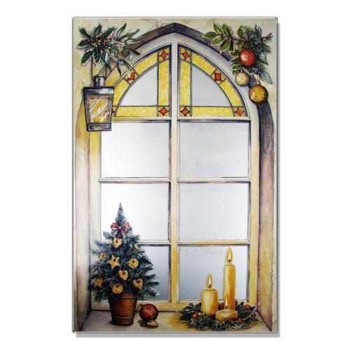 Stupell Industries Faux Window Mirror Screen Winter Motif Painting Print