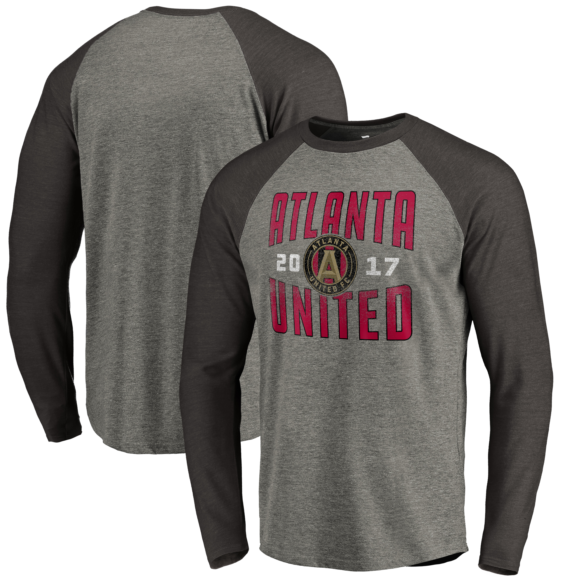 Atlanta United FC Fanatics Branded Antique Stack Long Sleeve Tri-Blend Raglan T-Shirt - Heathered Gray