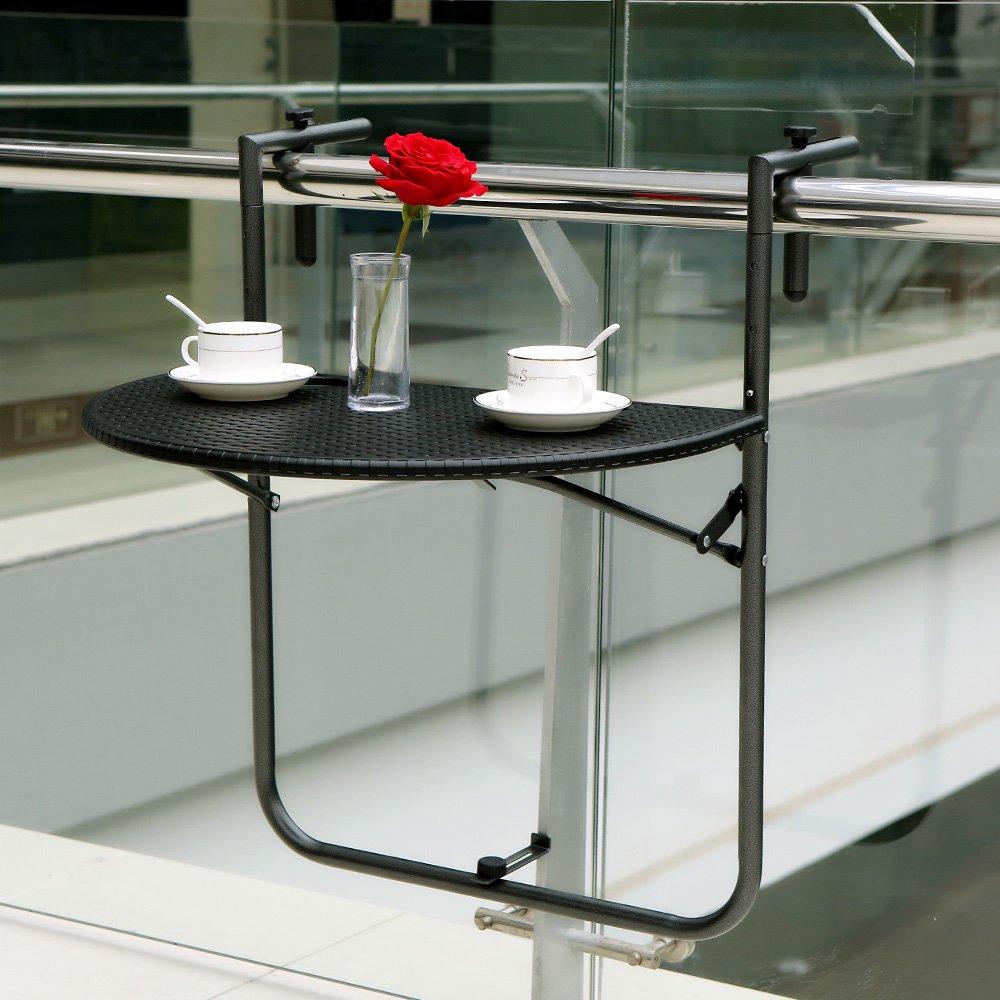 IKayaa Adjustable Folding Balcony Deck Table Hanging Patio Railing Dining  Table