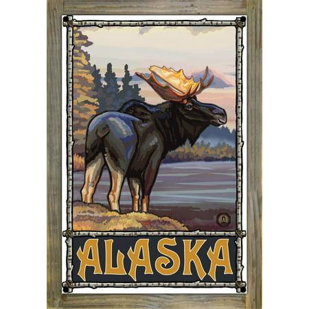 Alaska Moose Metal Print on Reclaimed Barn Wood by Paul A Lanquist 12