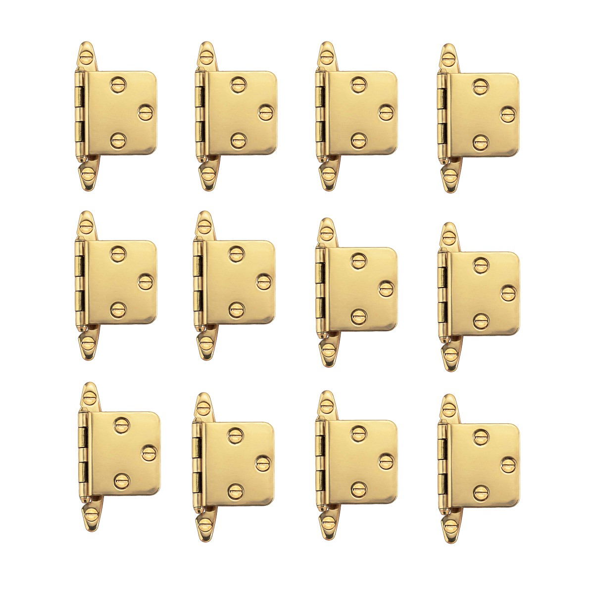 "12 Cabinet Hinges Semi-concealed Solid Brass 1.75"" W 