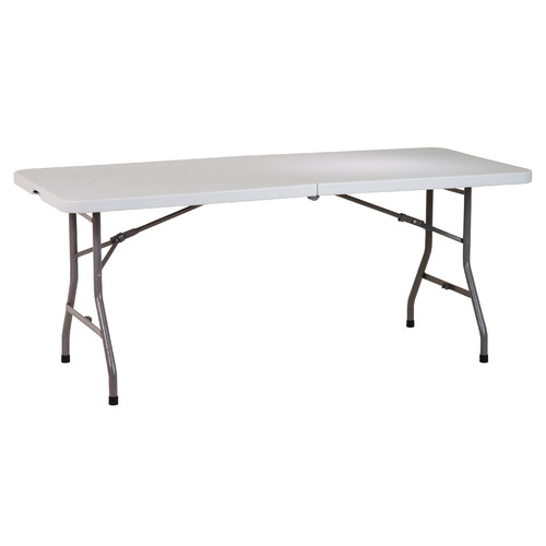 Superbe 6u0027 Resin Multi Purpose Center Fold Table With Wheels, Light Grey