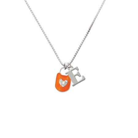 Hot Orange Enamel Lock with Clear Crystals - E - Initial