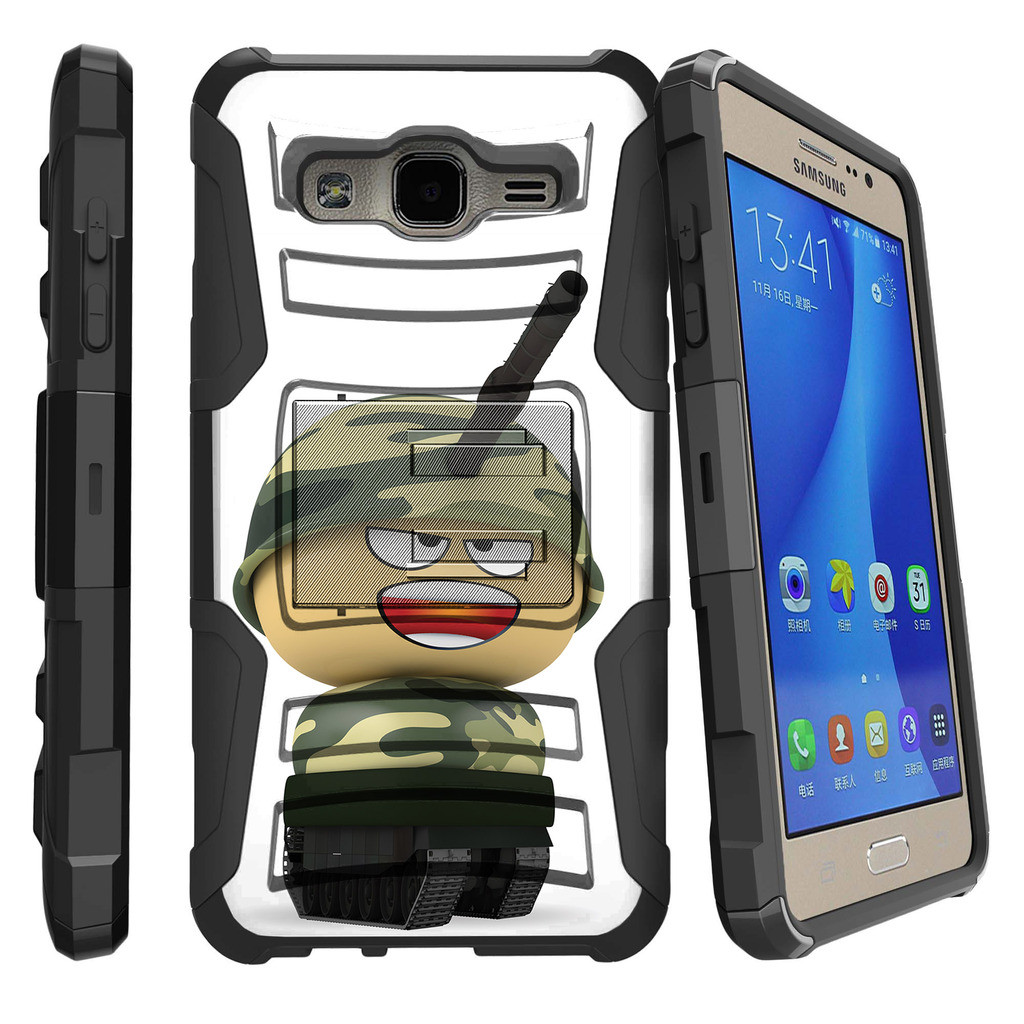 Samsung Galaxy On5 G550 Miniturtle® Clip Armor Dual Layer Case Rugged Exterior with Built in Kickstand + Holster - Cartoon Giraffe