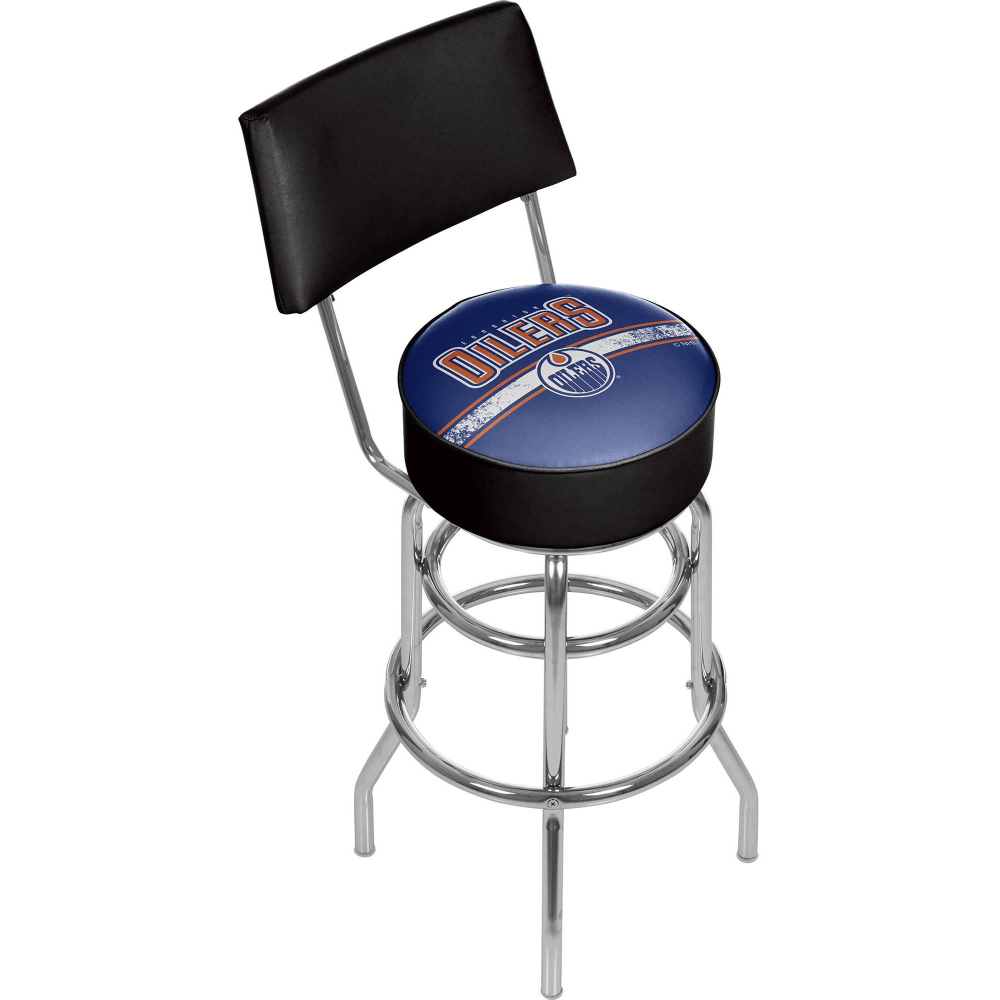 NHL Swivel Bar Stool with Back, Edmonton Oilers