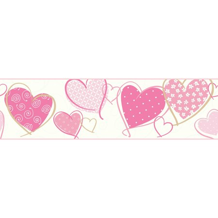 Heart Wallpaper - Growing Up Kids Heart Removable Wallpaper Border