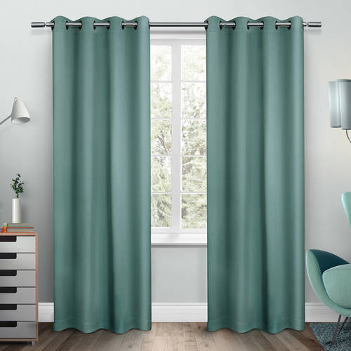 Exclusive Home Sateen Twill Weave Blackout Window Curtain Panel Pair with Grommet Top