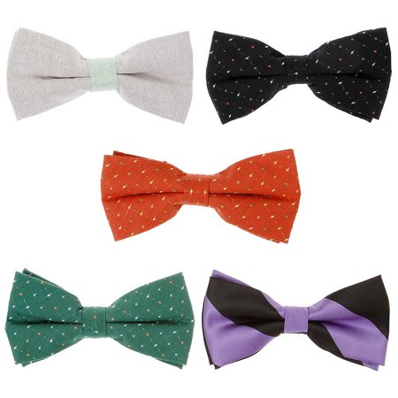 Bundle Monster 5pc Mixed Design Adjustable Pre-Tied Mens Neck Tie Bowtie -