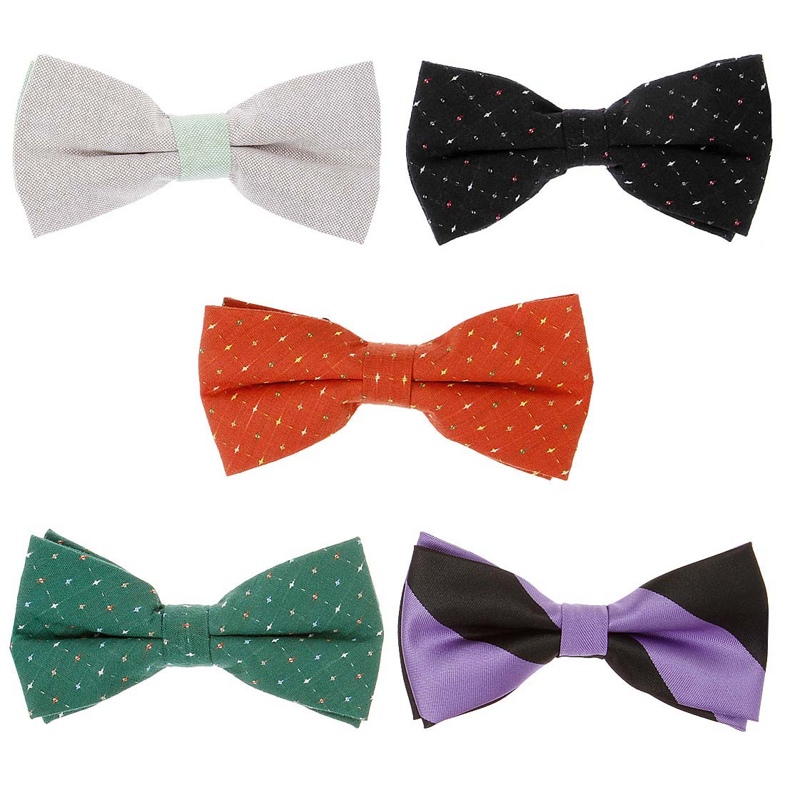 Bundle Monster 5pc Mixed Design Adjustable Pre-Tied Mens Neck Tie Bowtie Sets