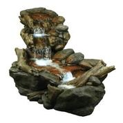 Ball Outdoor Fountain - Alpine Corporation Outdoor 3-Tier Rainforest Rock Water Fountain with LED Lights
