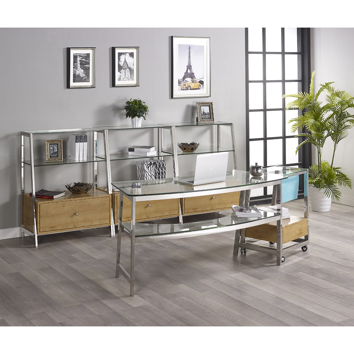 Turnkey Products LLC Tenzo 62-inch Glass Writing Desk with 3 Bookcases and File