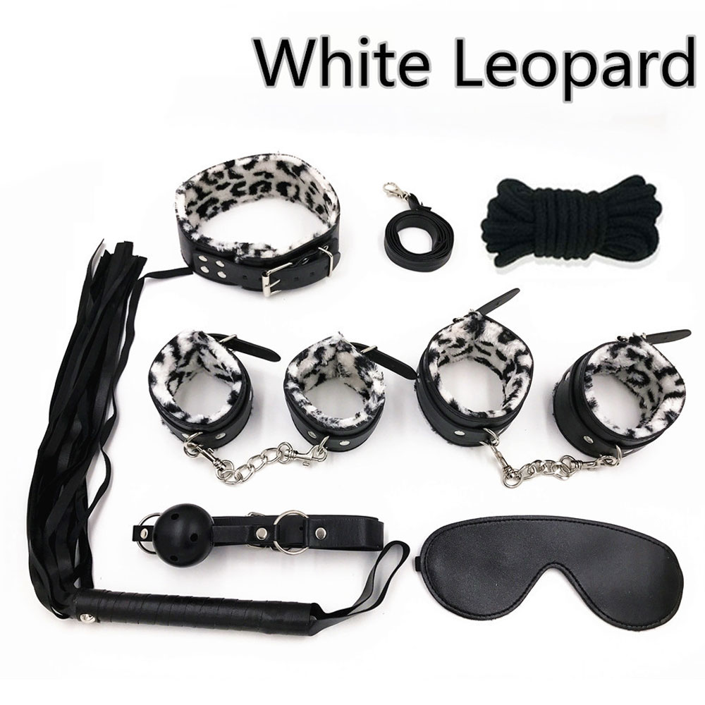 Bondage Kit with Bondage Toys Whip Leash Handcuffs Blindfold Collar Choker Gags FREE Eyeglass Pouch by Kaneesha (White Leopard)
