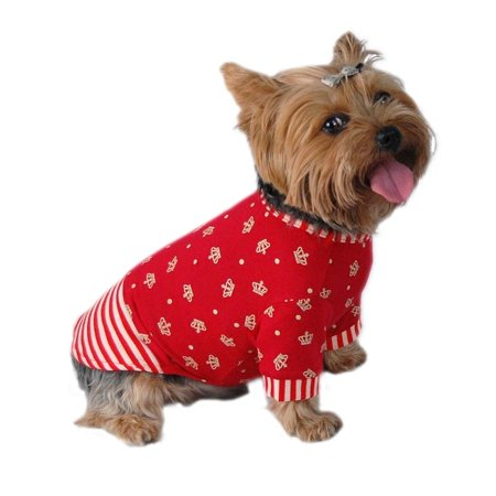 Red White Stripe Crown Print T-Dress Pet Puppy Clothes Apparel For Dog - Large (Holiday Christmas Gift for Pet)