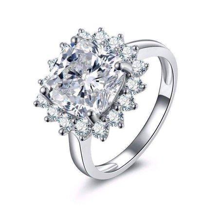 ON SALE - Duchess 6CT Cushion Cut Floral Halo IOBI Simulated Diamond Ring 9.25