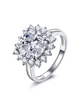 8f4ca91d2 Product Image ON SALE - Duchess 6CT Cushion Cut Floral Halo IOBI Simulated  Diamond Ring 9.25