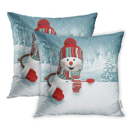 ARHOME Red Holiday 3D Cartoon Happy Snowman Holding Blank Winter Christmas Silver Pillow Case Pillow Cover 20x20 inch Set of -