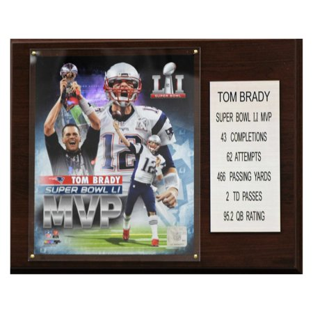 C   I Collectables Nfl 12 X 15 In  Tom Brady New England Patriots Super Bowl Li Mvp Plaque