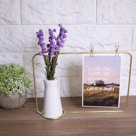 LYUMO Ceramic Flower Plant Pot Vase Postcard Photo Holder Display Iron Frame Bracket with Clip, Iron Vase Photo Display, Iron Vase Photo Holder ()