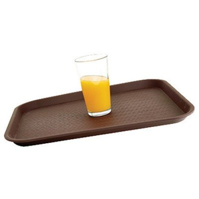 Thunder Group PLFT1418BK, 14x18-Inch Black Rectangular Fiberglass Tray, Plastic Serving Bar Tray, NSF - Plastic Serving Tray