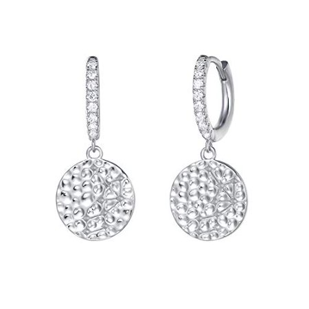 Cbr Earrings (Carleen White Gold Plated 925 Sterling Silver CZ Cubic Zirconia Round Circle Dangle Drop Small Hoop Earrings For Women Girls)