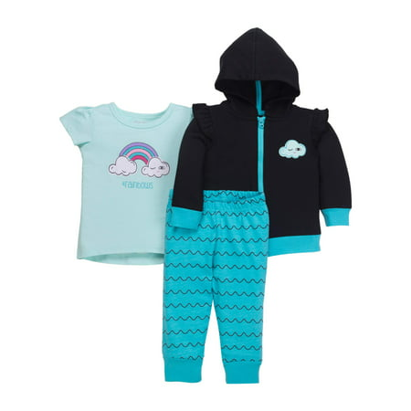 Newborn Baby Girl Hoodie, T-Shirt, & Pant 3pc Outfit Set - Newborn Halloween Outfit